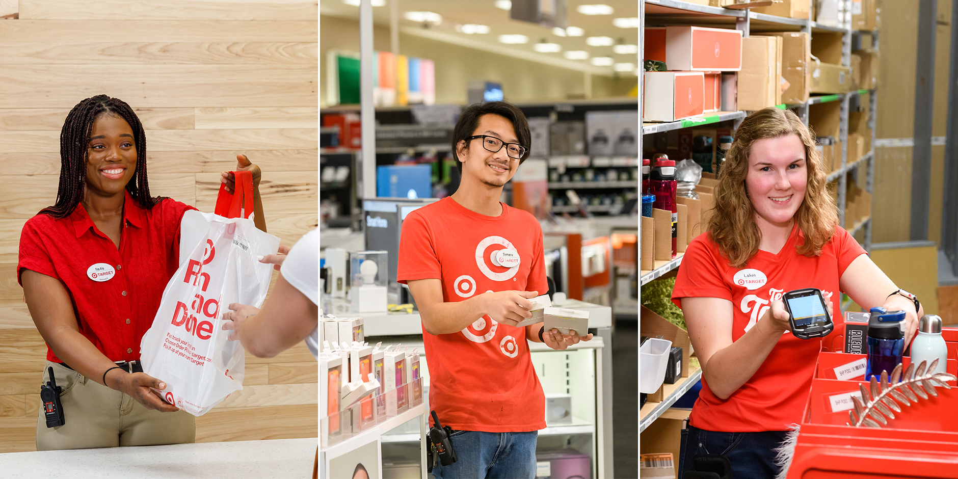 A split image showing three Target team members working in Target stores