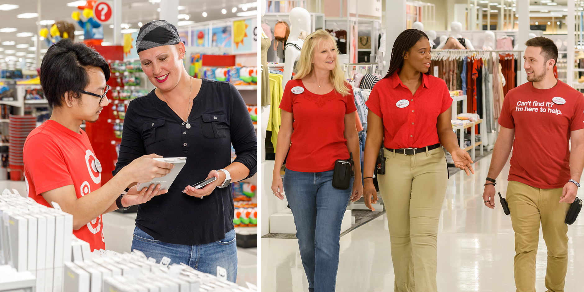 A team member shows a guest a product; three team members walk the aisles of a store