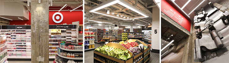 Three photos show aisles of Target's beauty department, food and beverage displays and a closeup of the modern industrial detail on a wall