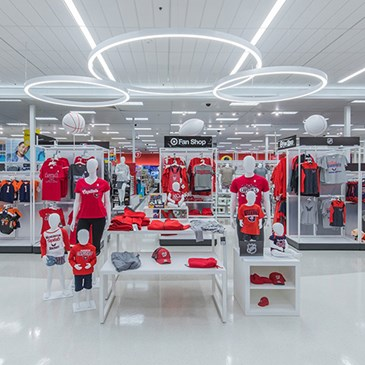 A display of apparel and accessories in the Gainsville Target store