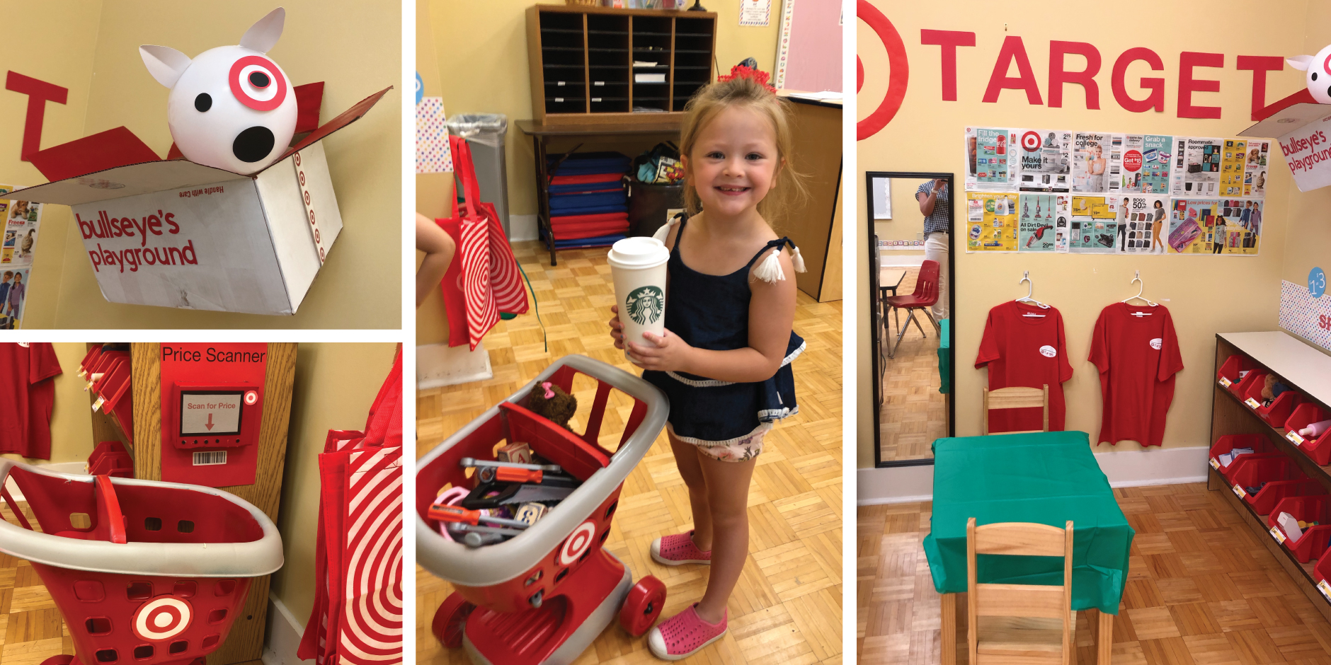 collage of images of miniature Target store items in a classroom
