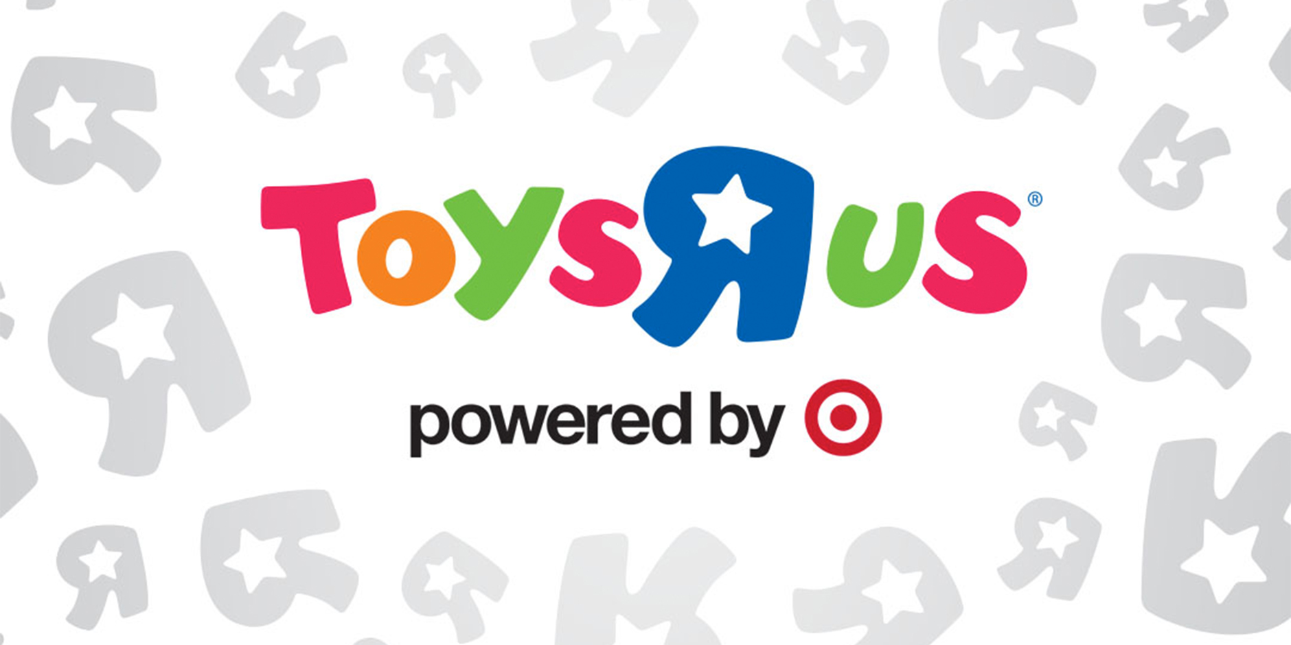 The colorful Toys R Us logo with black text powered by Target and gray R icons on a white background