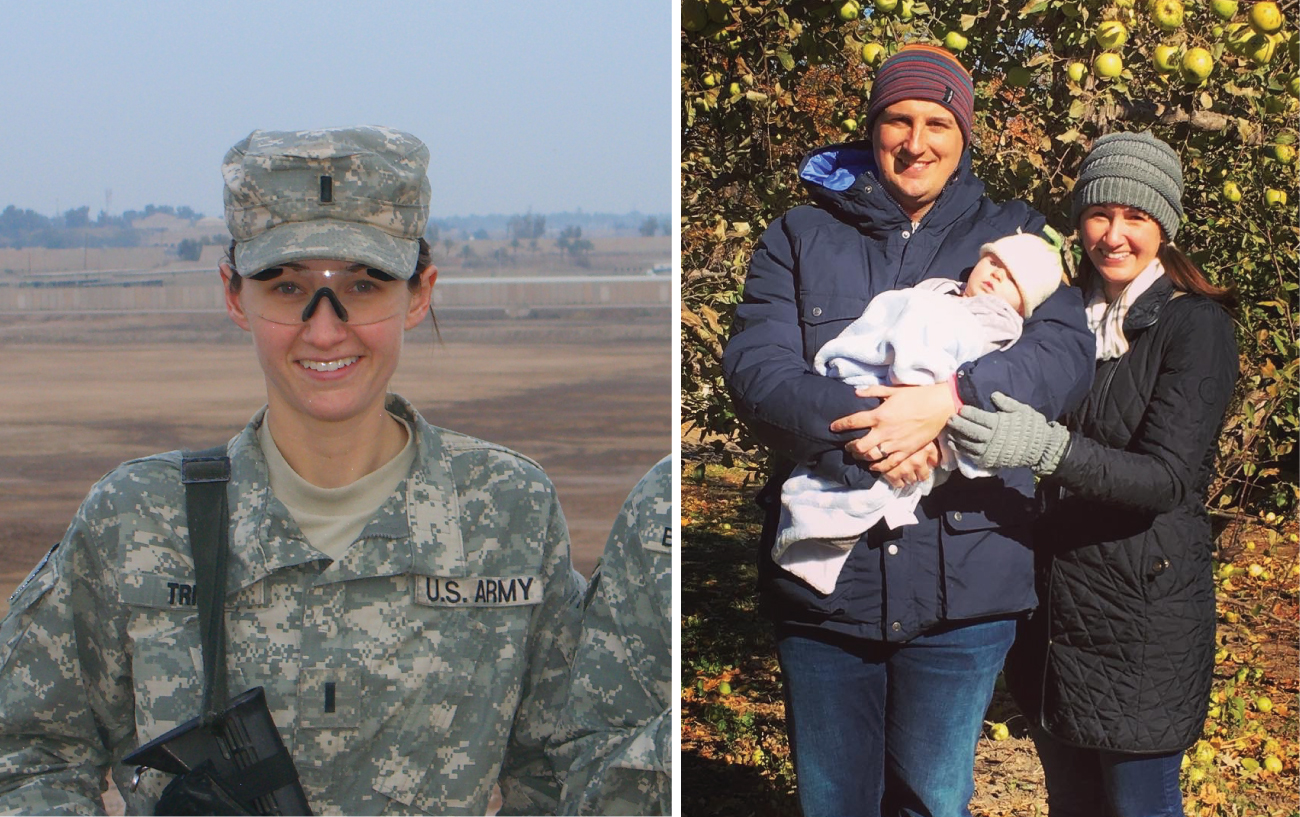 A split photo shows Katherine in Army attire, alongside a photo of her with her family