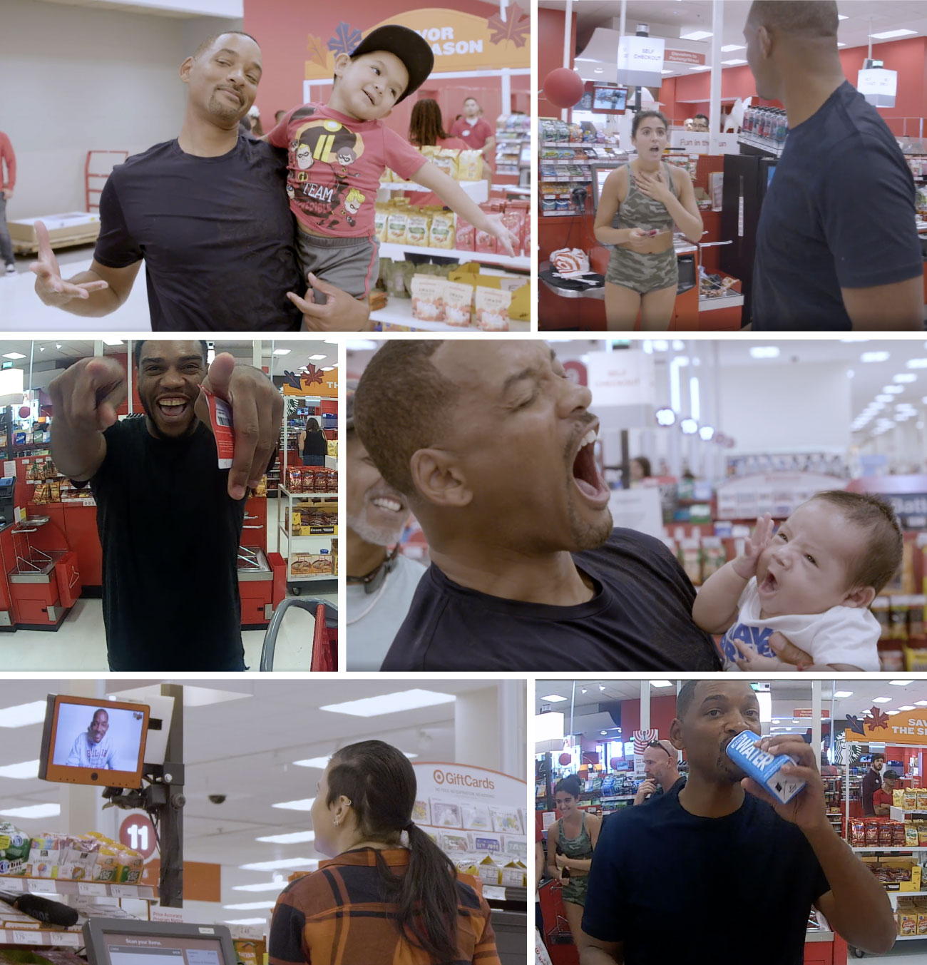 A collage of images showing Will Smith surprising and interacting with Target guests
