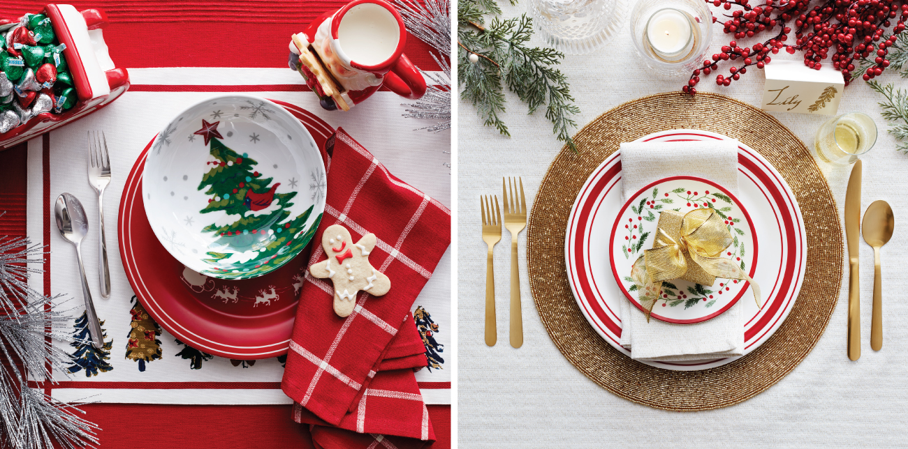 Two place setting images, one featuring classic red with a Christmas tree and the other featuring gold and holiday holly