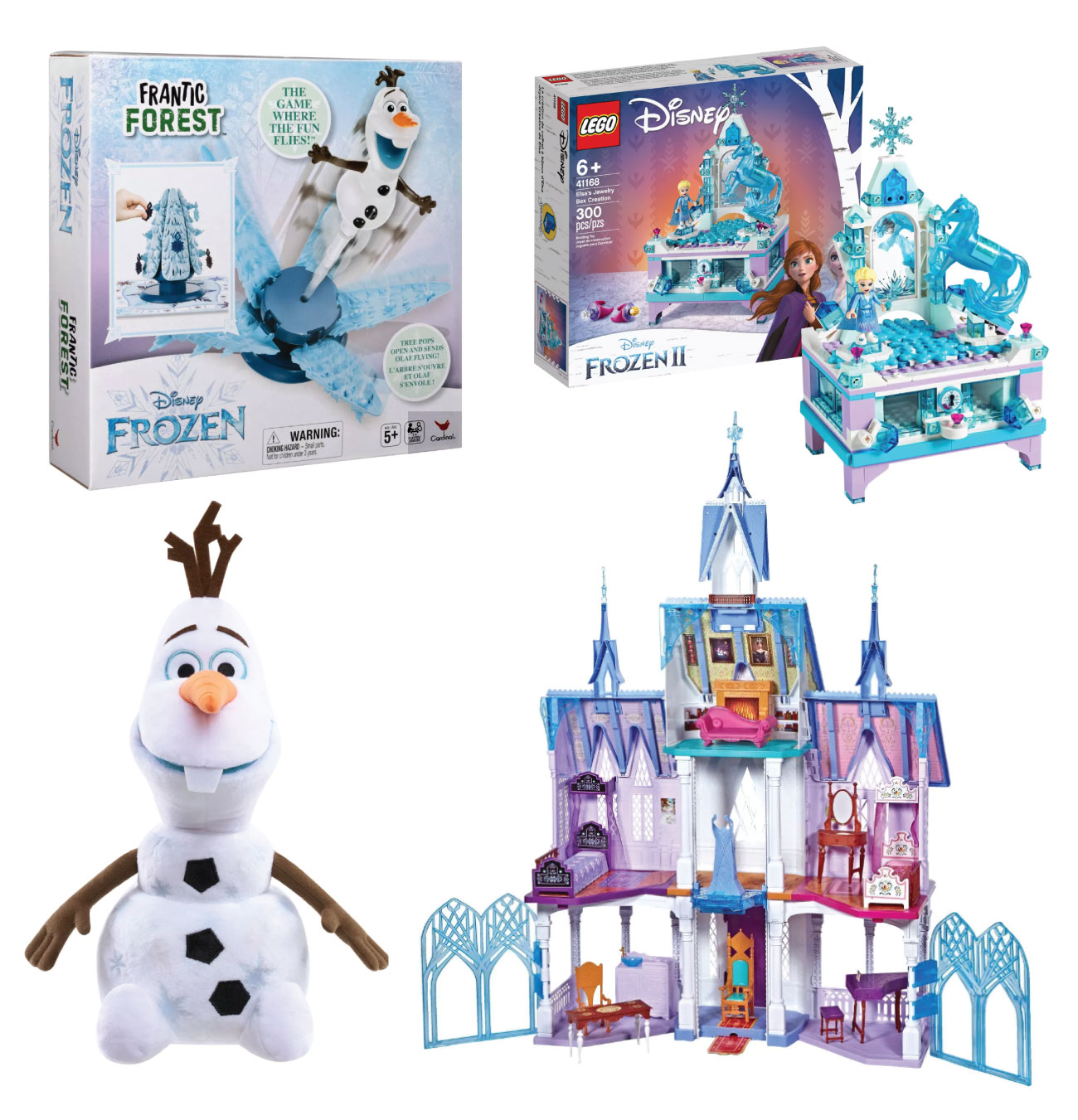 Three Disney Frozen 2 gift sets and an Olaf plush doll