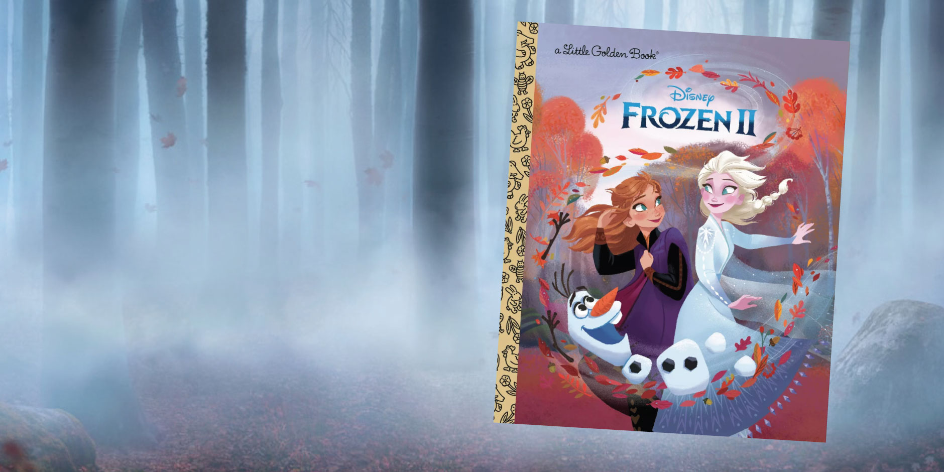 A Disney Frozen 2 storybook with Elsa and Anna on the cover, in front of a wooded background