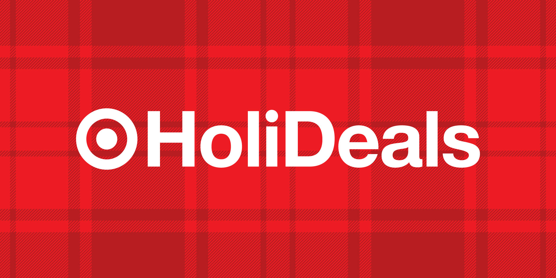 The Target HoliDeals logo in white text against a red plaid background