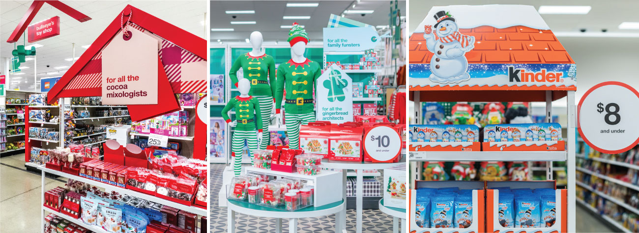 Three images show a variety of Target's holiday gifting displays, from cocoa and family jammies to sweet treats