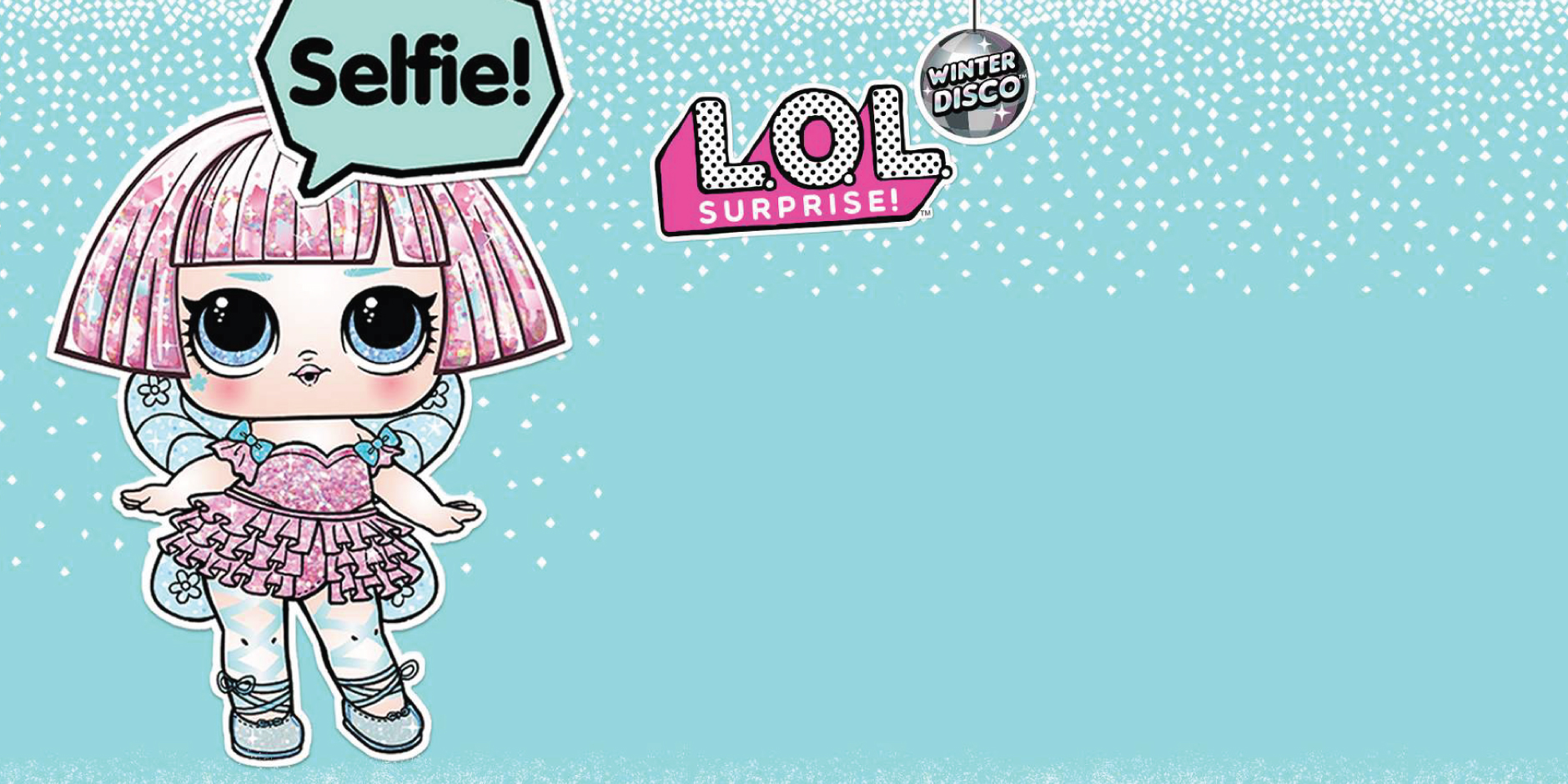 A character in a pink ballet outfit against an aqua background with the L.O.L. Surprise! logo