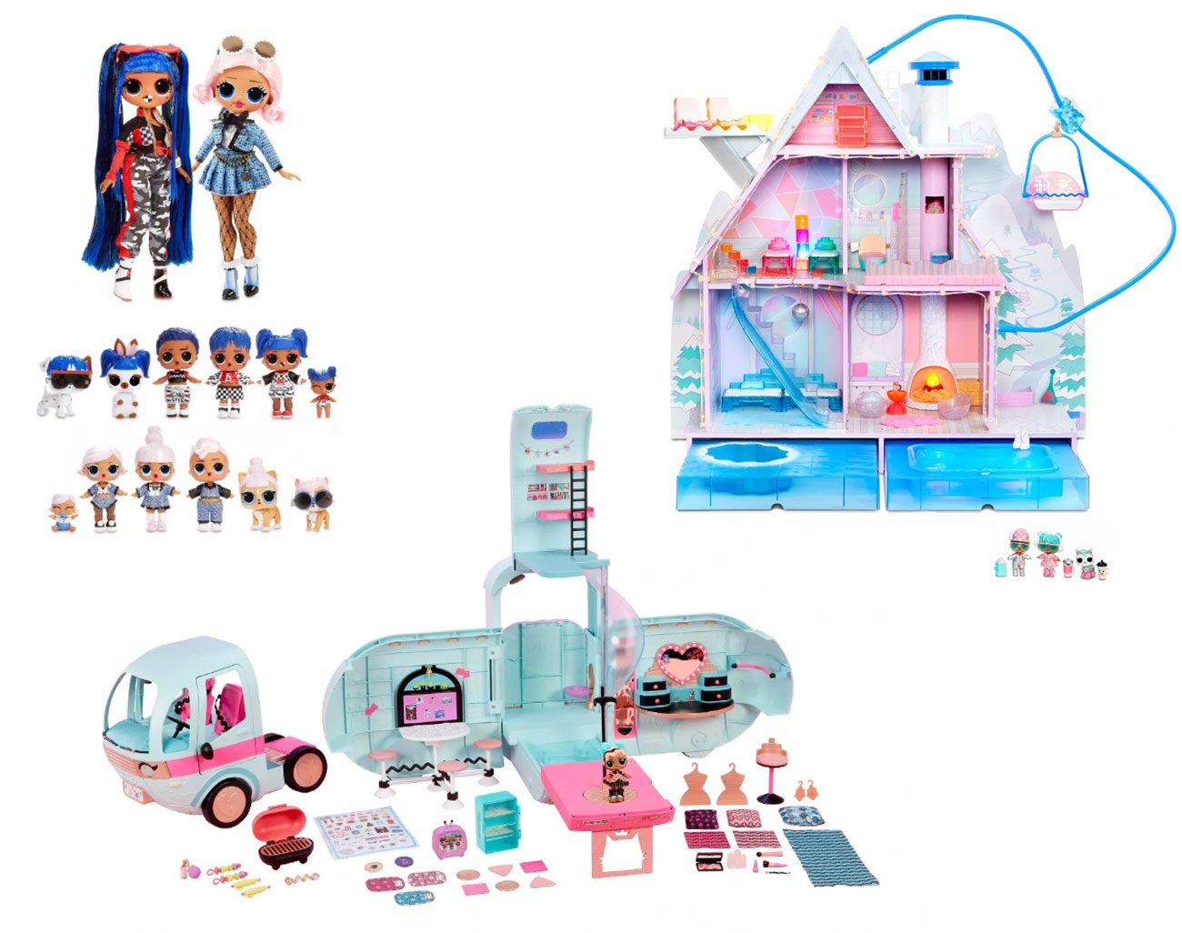 Assorted dolls, the dollhouse and camper sets
