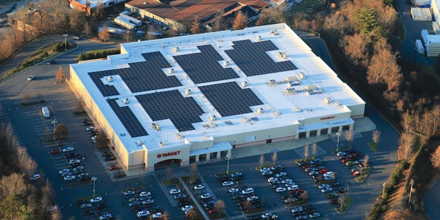 roof of a Target store covered in black solar panels