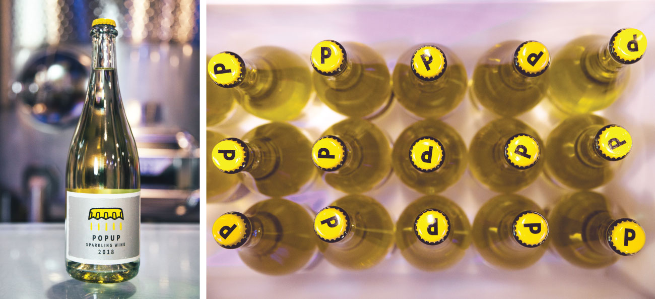 "A split image shows a single bottle of POPUP and a bird's-eye view of a group of bottles, showcasing the bright yellow cap emblazoned with a large ""P"""