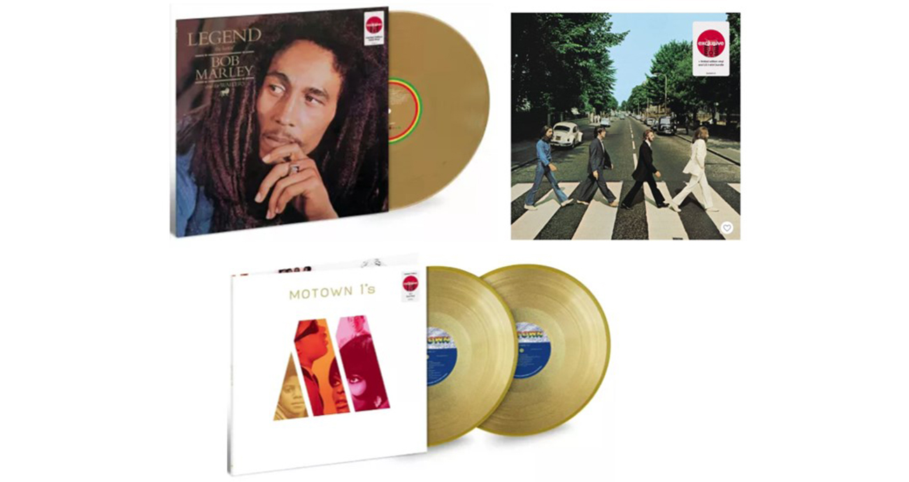 Album covers for Bob Marley, The Beatles and Motown No. 1 Hits