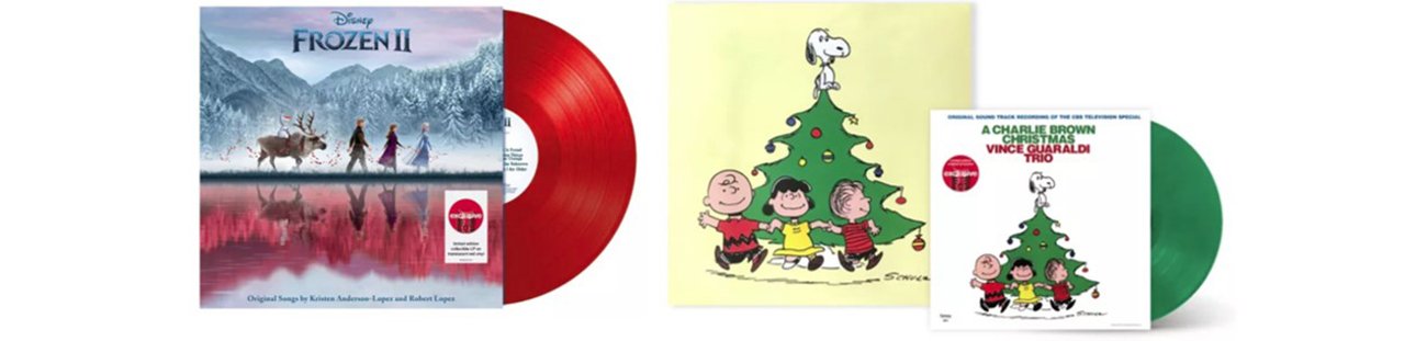 The album covers for Disney Frozen 2 and Vince Guaraldi A Charlie Brown Christmas