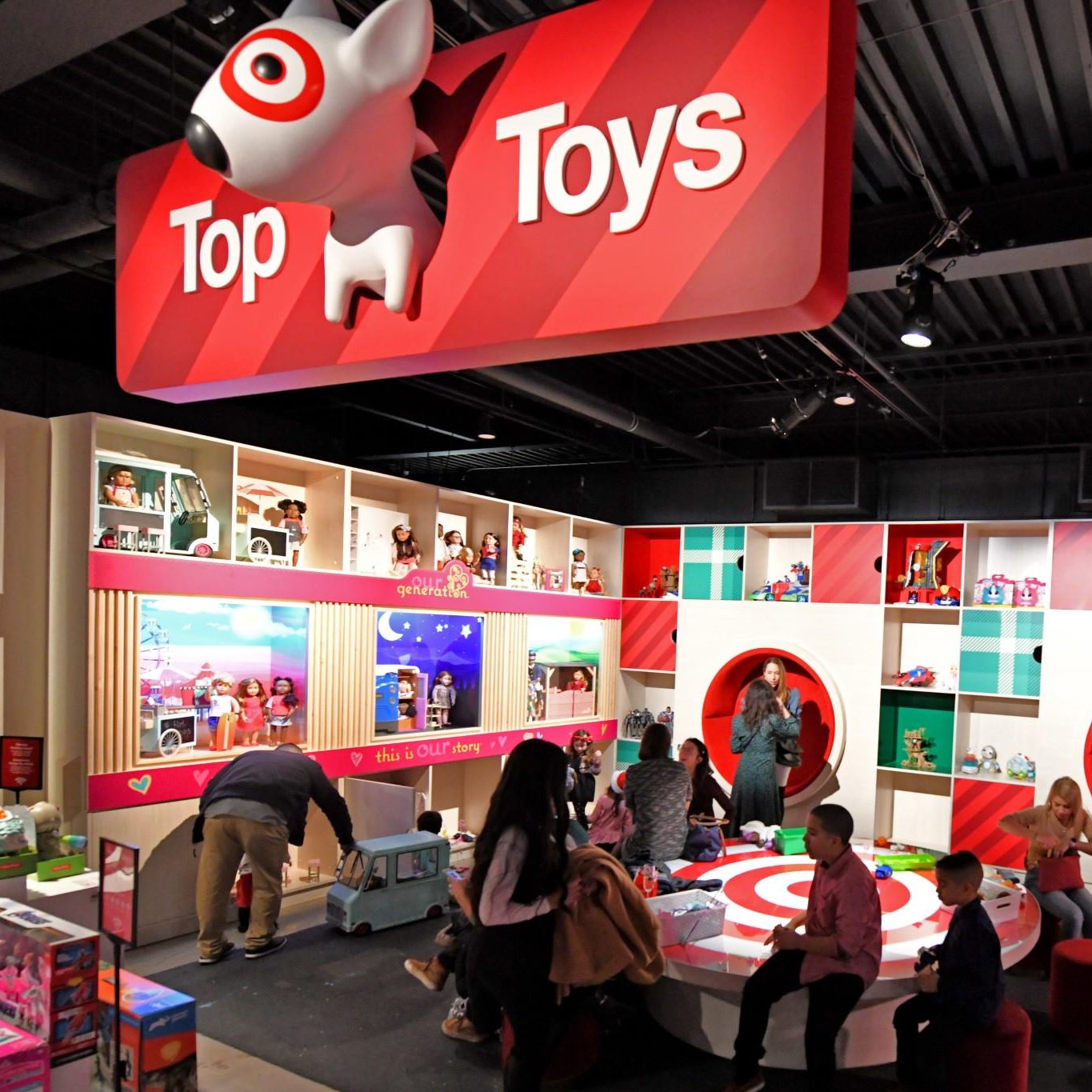 Guests enjoy a variety of toys in the Top Toys display