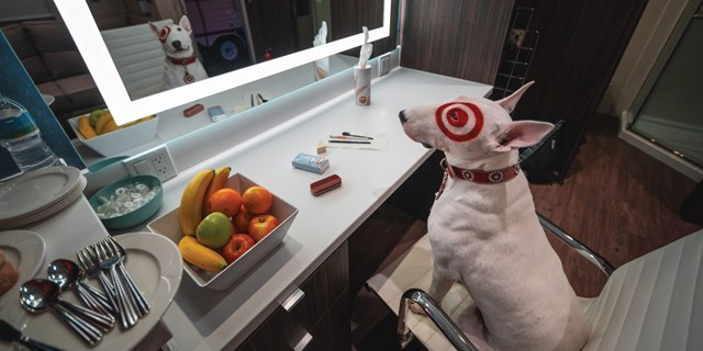 Bullseye sits in a chair in front of a makeup table and mirror, and assorted items on the counter