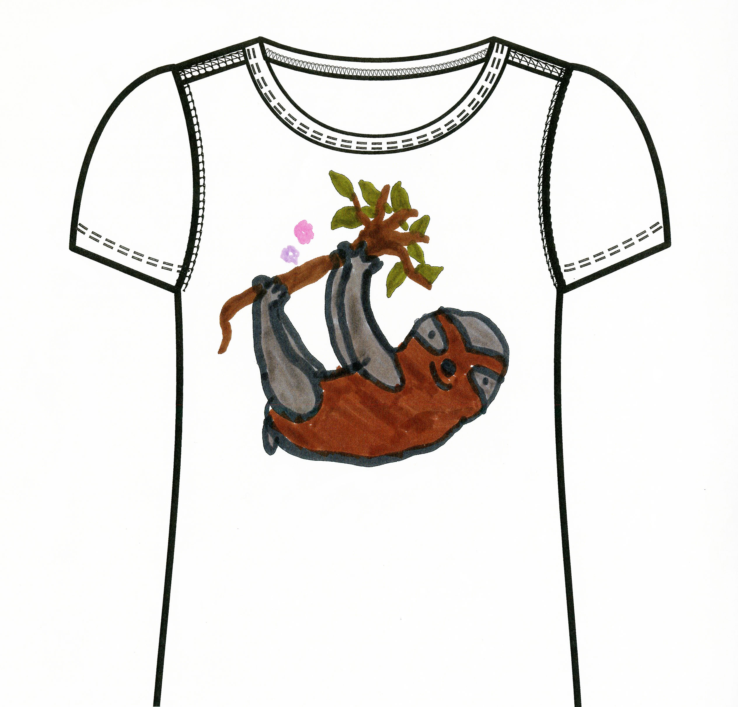 An illustration of a white t-shirt with a brown and gray sloth hanging from a tree branch with green leaves
