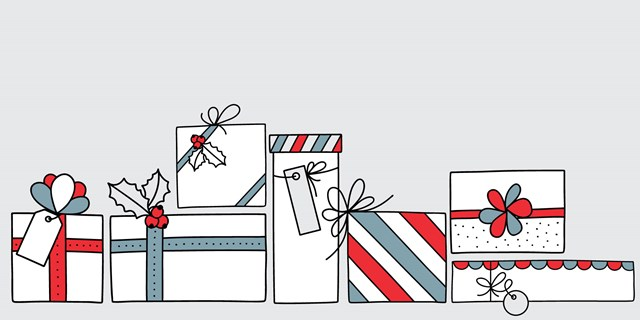 illustration of wrapped presents on a gray background