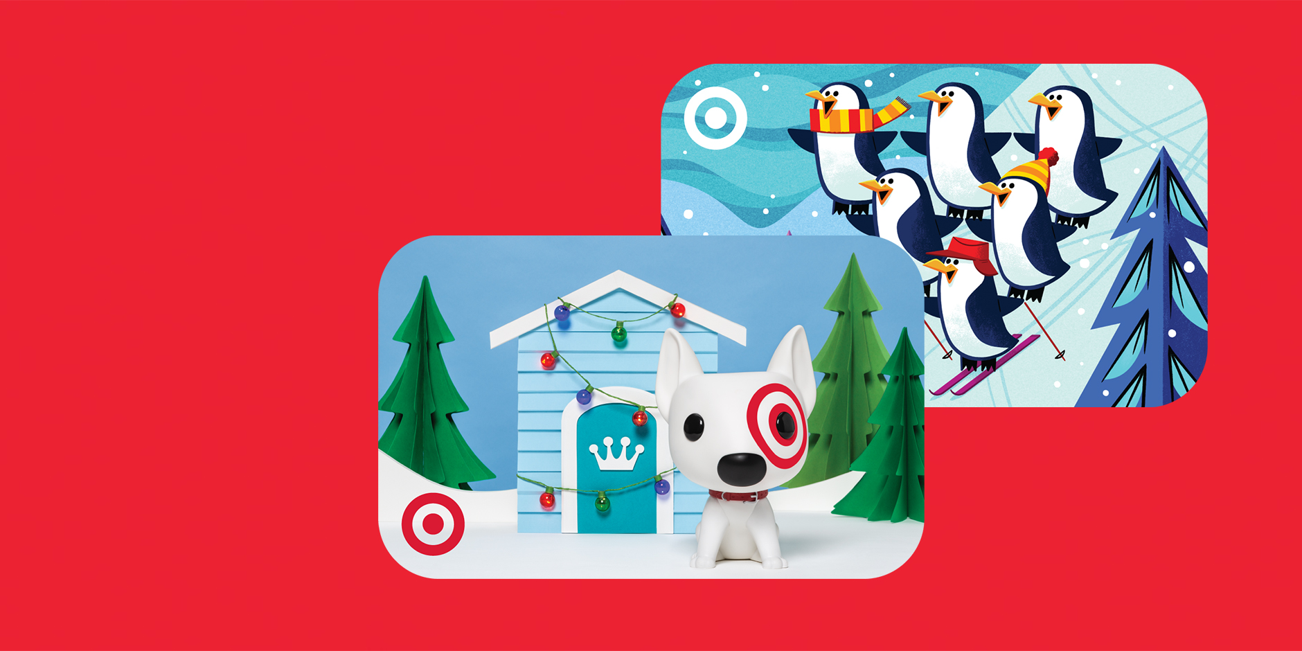 Two Target GiftCards stacked on a red background, one with Bullseye the dog and one with penguins
