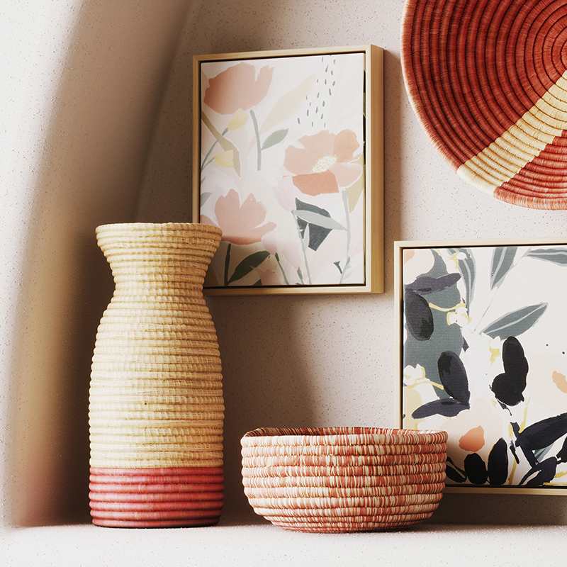 Woven vase, bowl and wall decor with rose hues