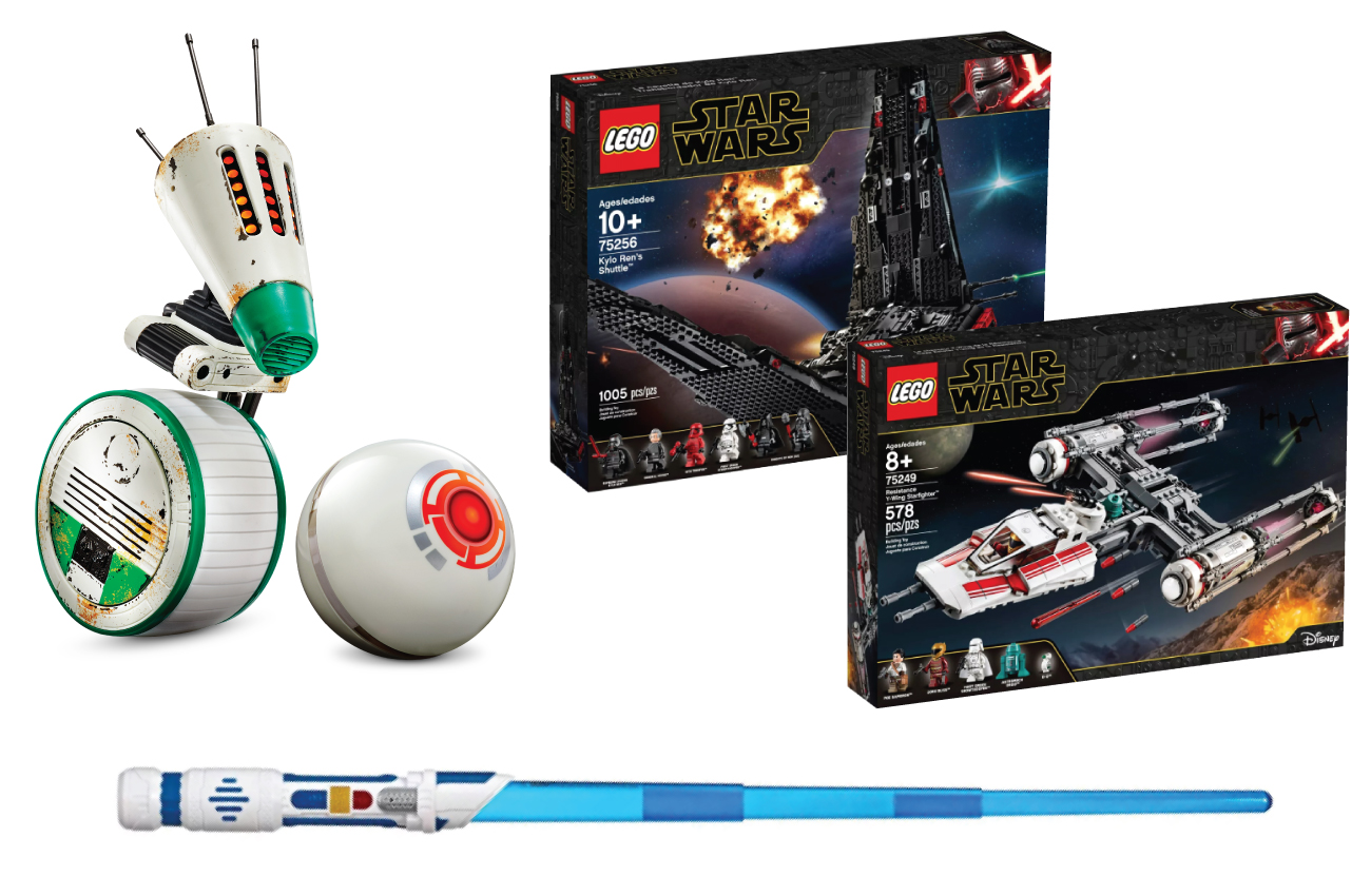 The interactive remote-control droid, LEGO playset and blue scream saber toys.