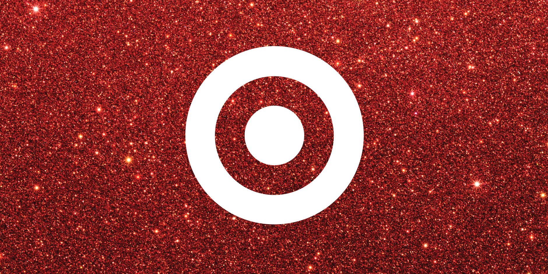 A white bullseye against a sparkly red background