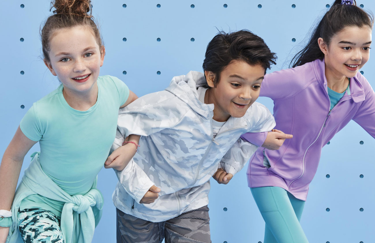 Two girls and a boy wear All in Motion activewear