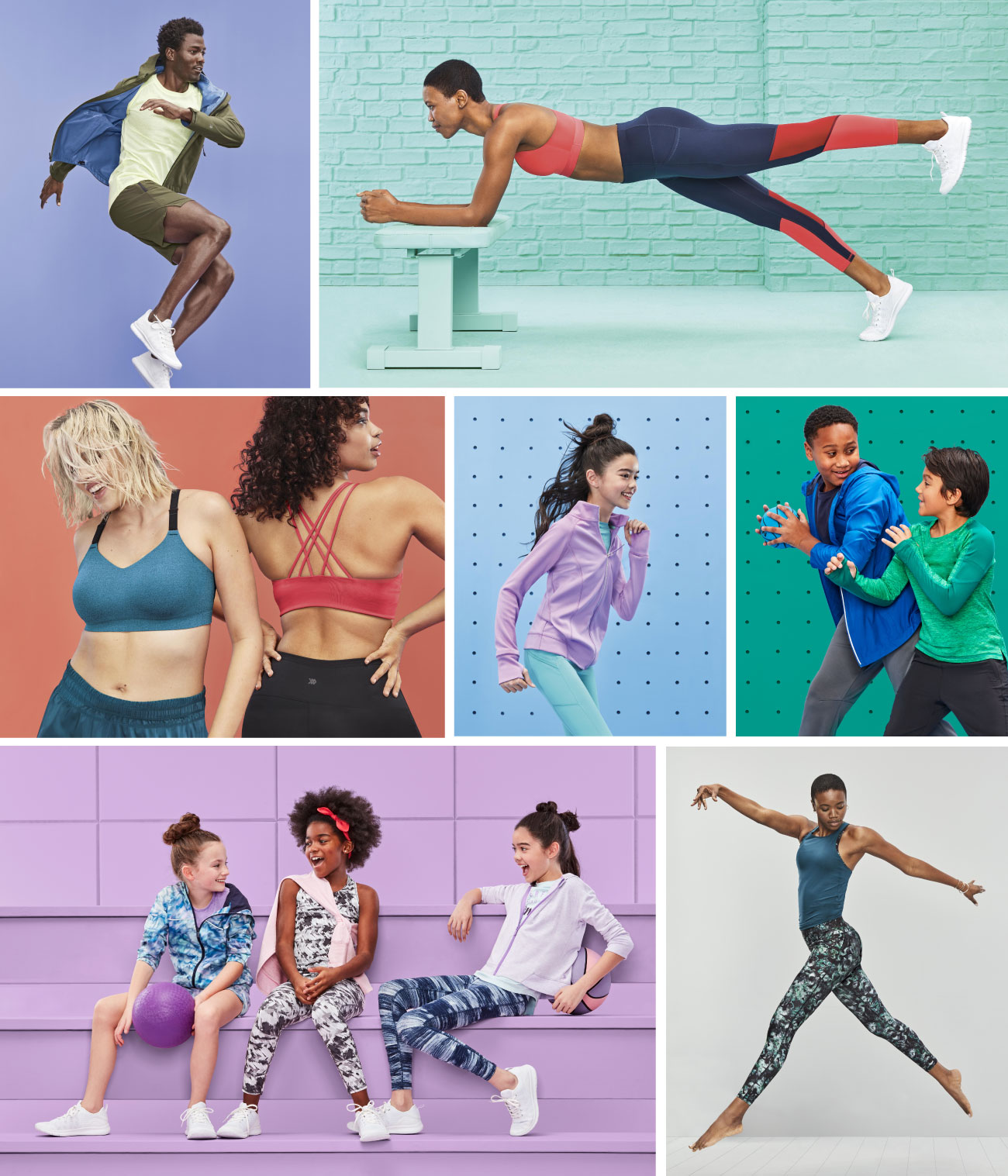 A collage of images featuring active men, women and kids wearing All in Motion activewear.