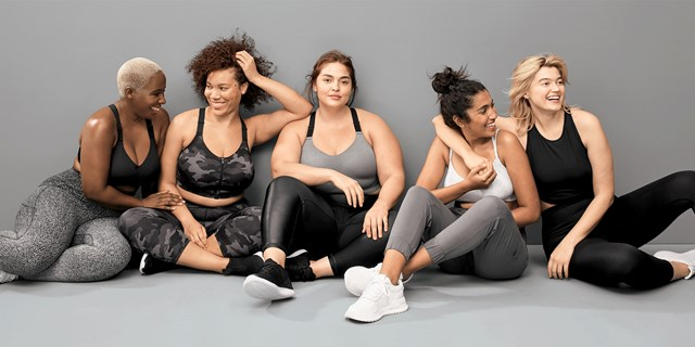 Five women with a variety of body types wear All in Motion activewear