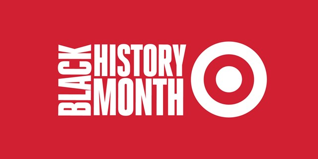 "white text on red background: ""black history month"" and bullseye logo"