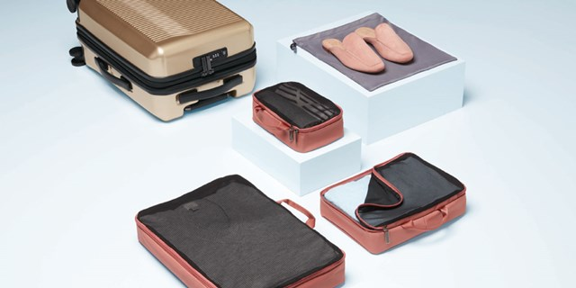 A set of assorted pieces of luggage bags and accessories in champagne and cedar with black trim