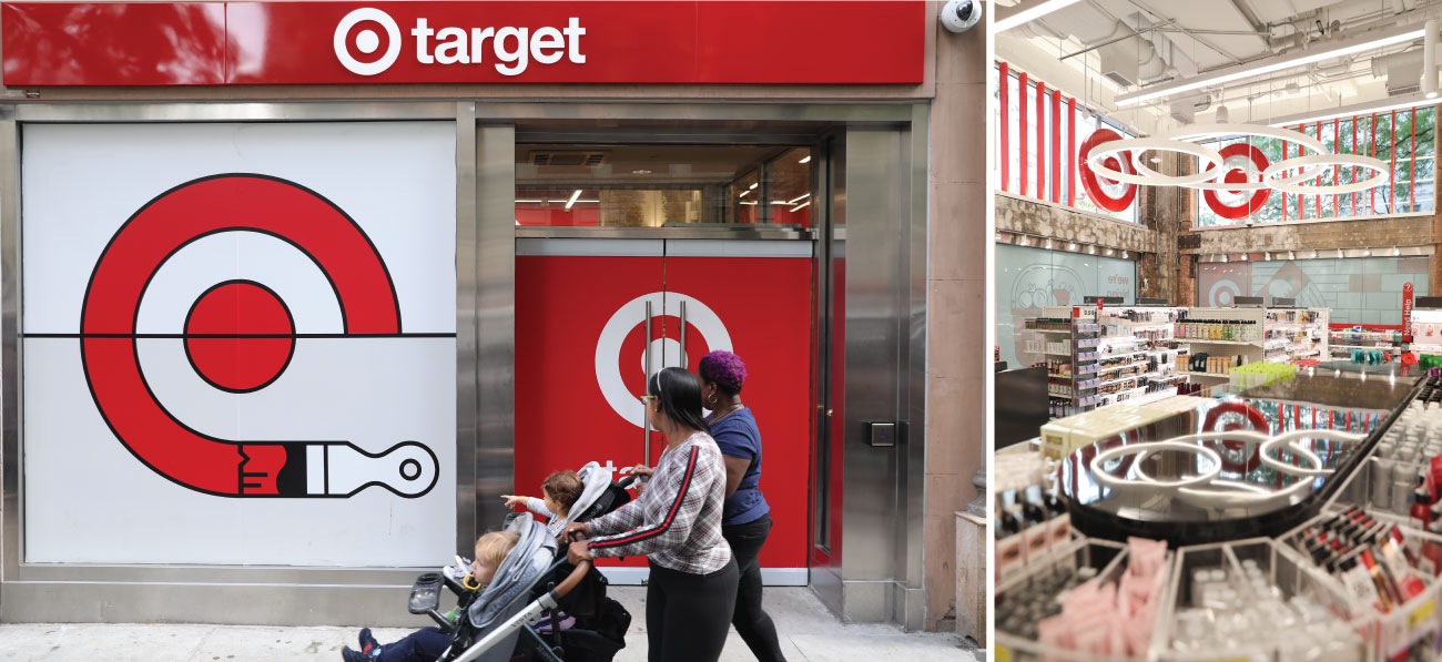 Left, a couple push a stroller in front of the outside of a small format Target store with red and white signs; right, the inside of a small format store with product displays.