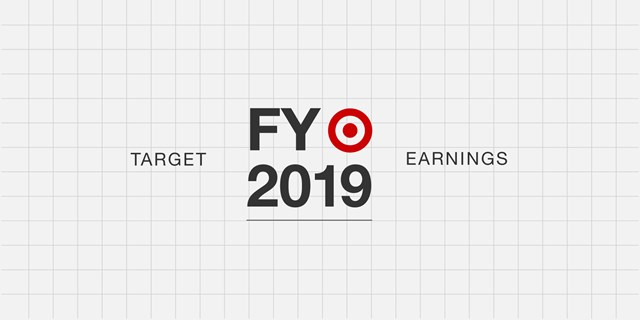 Red bullseye logo against gray grid background with black text Target FY 2019 Earnings