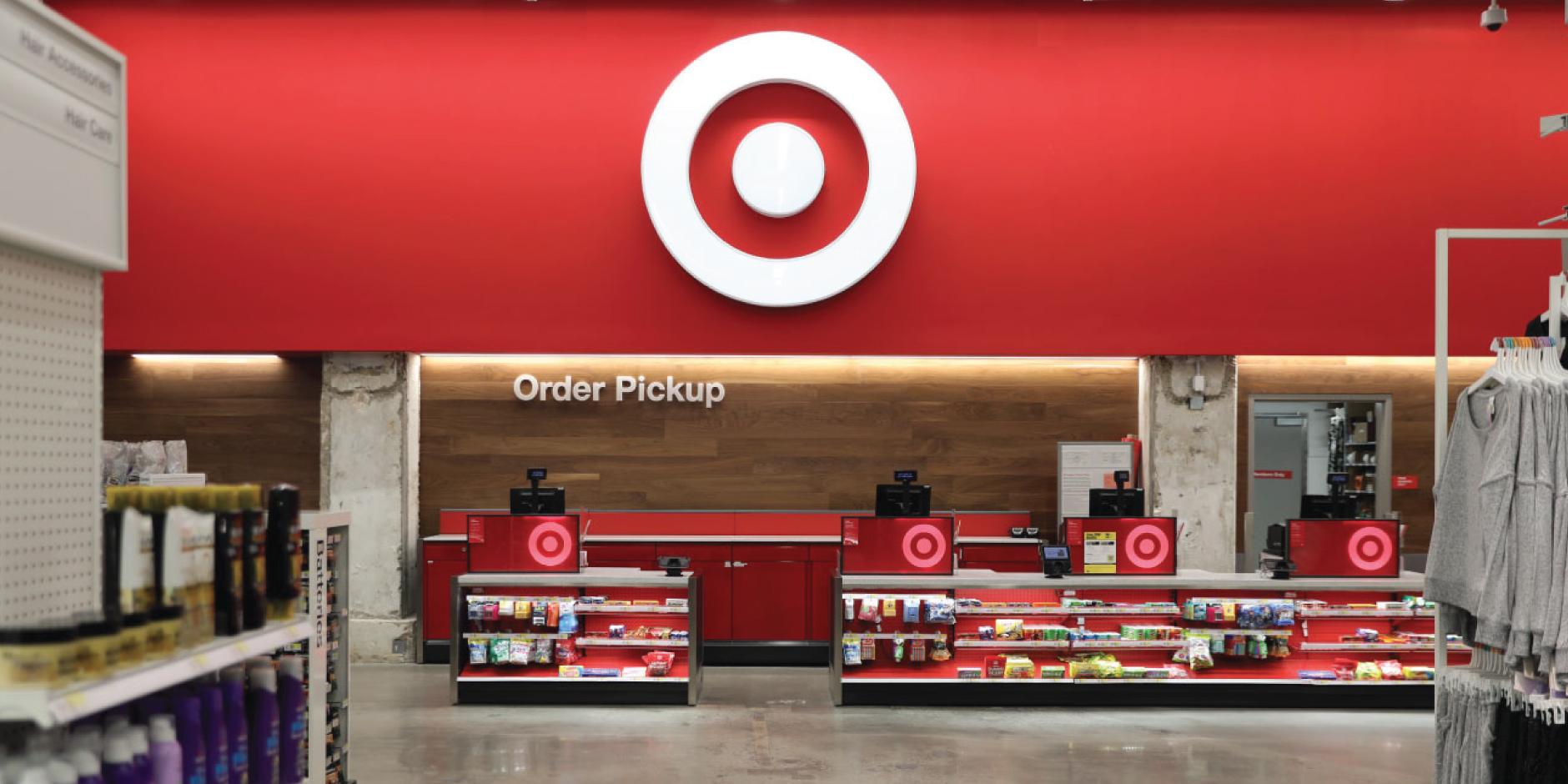 Interior of a Target store with Order Pickup sign and product displays