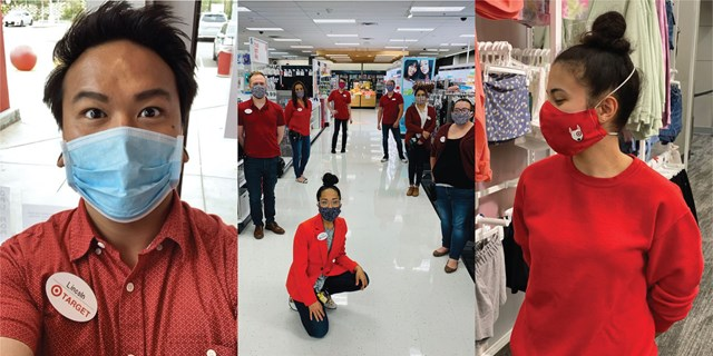 Three photos of team members in their stores wearing face masks and preparing to help guests