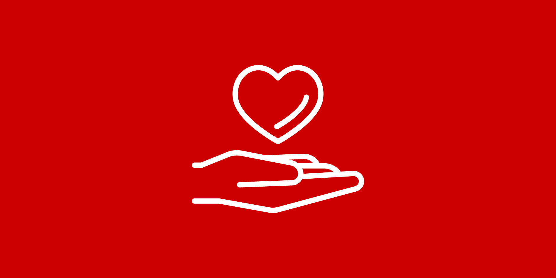 an illustration with white outline of a hand holding a heart against a red background