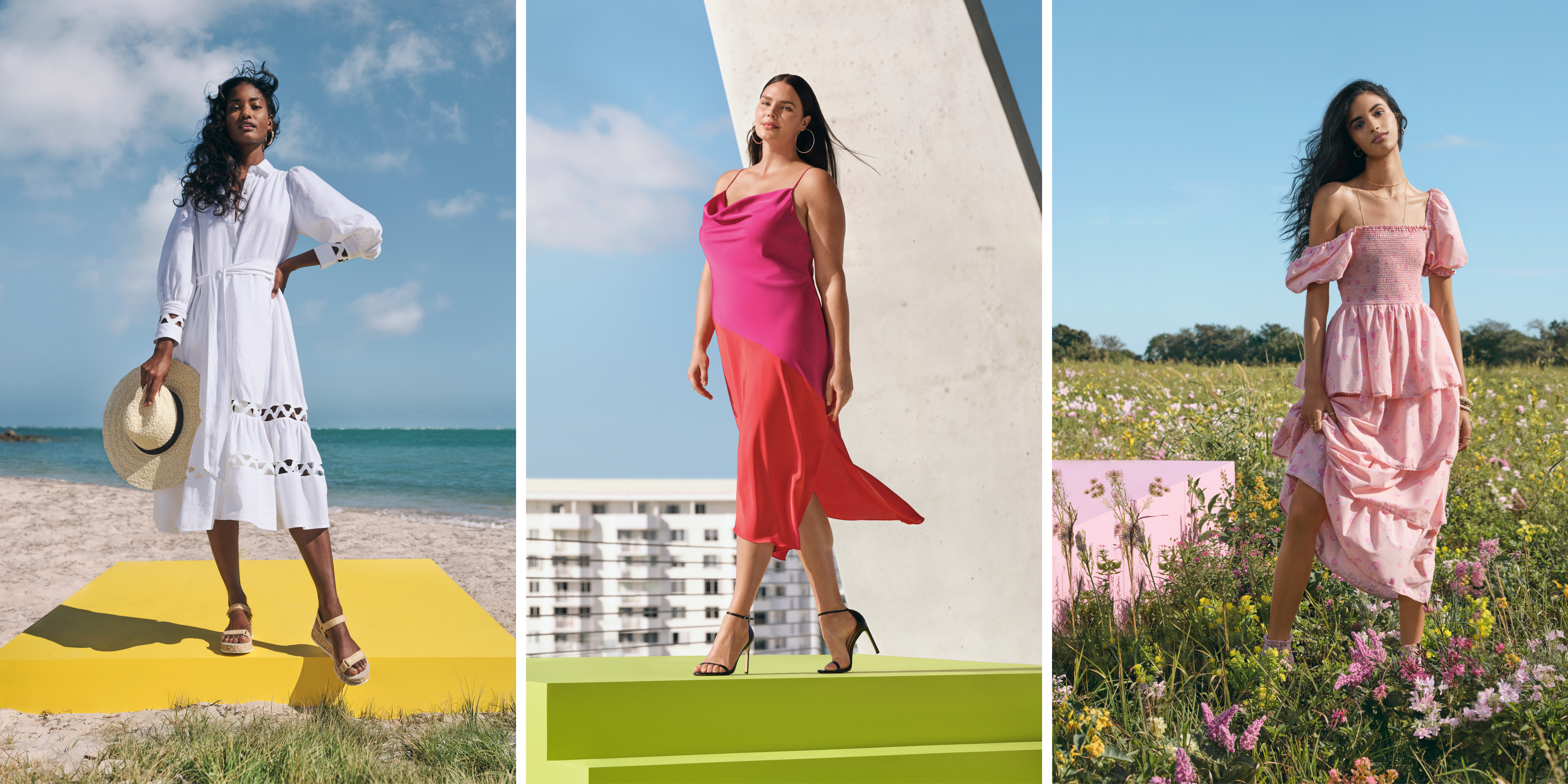 collage of three women in colorful dresses in different places (field, city, beach)