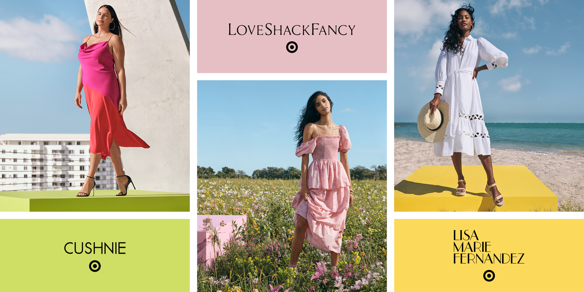 collage of three women in colorful dresses in different places, with designers' names
