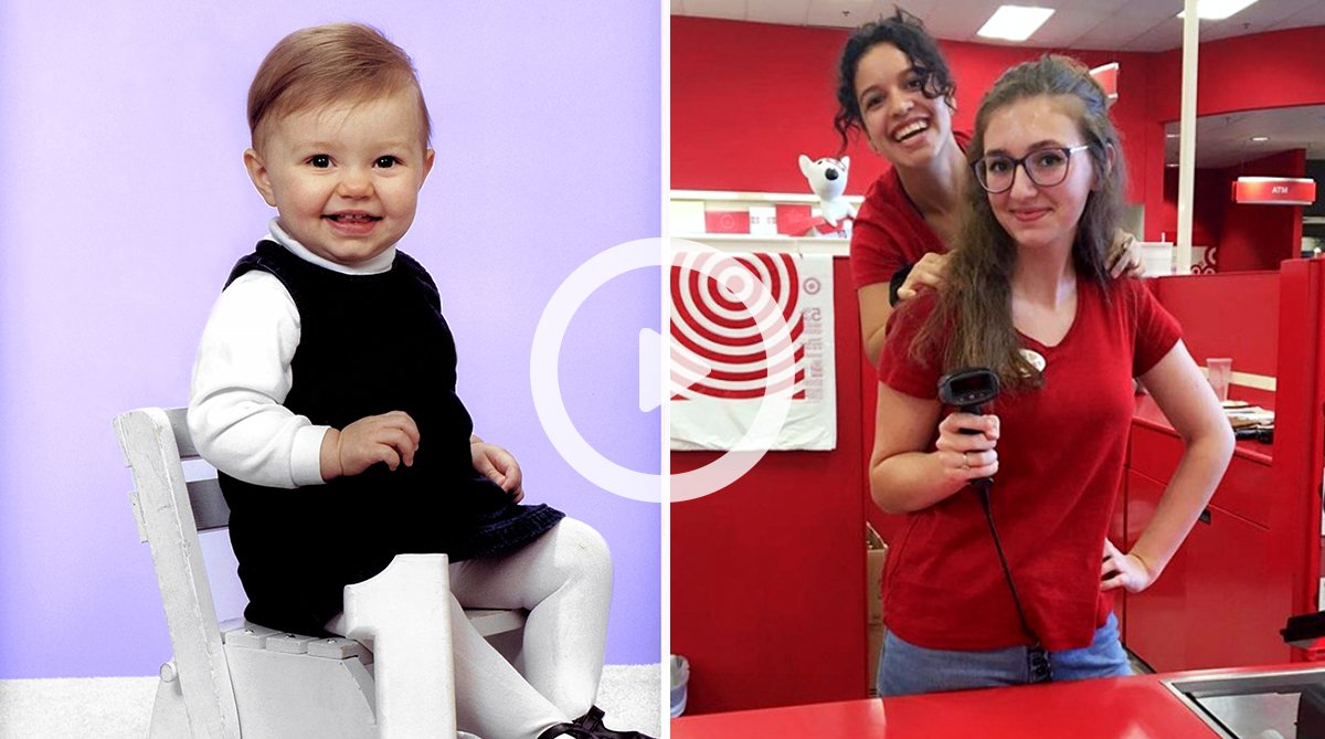 video play button overlay of two photos, a small child and a Target team member