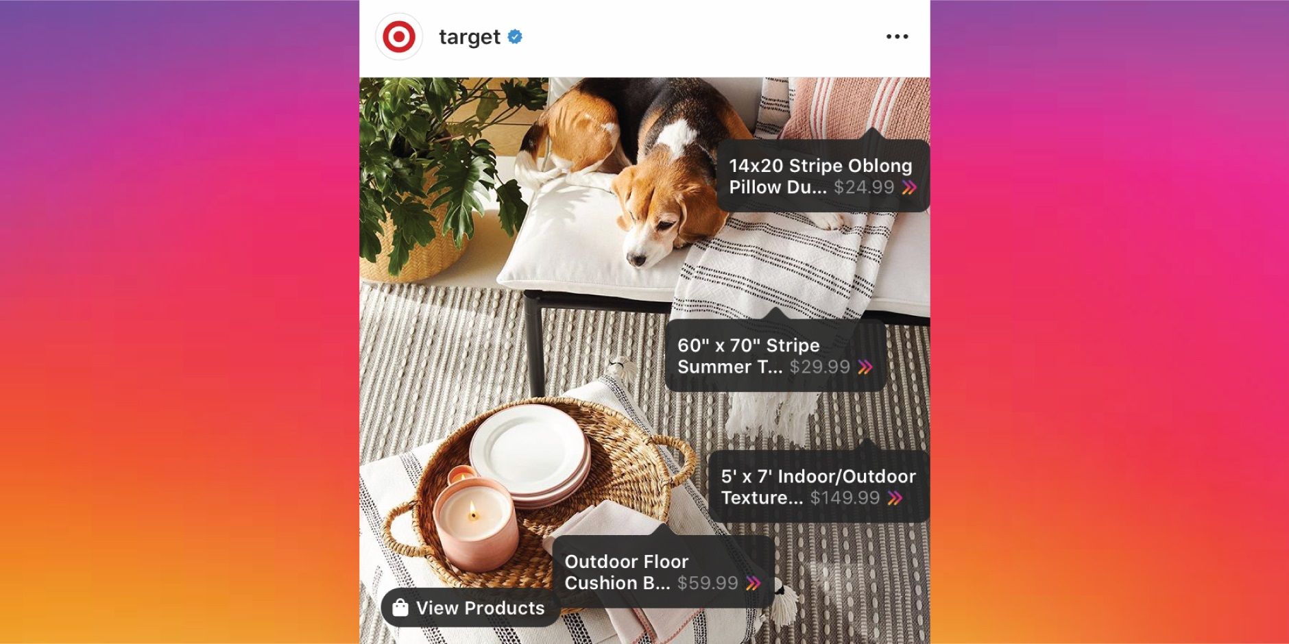An Instagram post featuring shoppable product icons