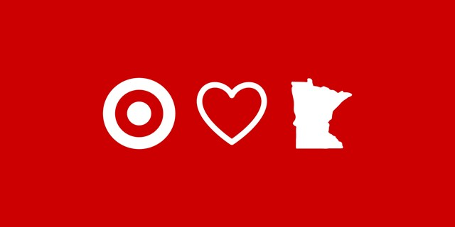 white illustration on red background, bullseye, heart and state of Minnesota
