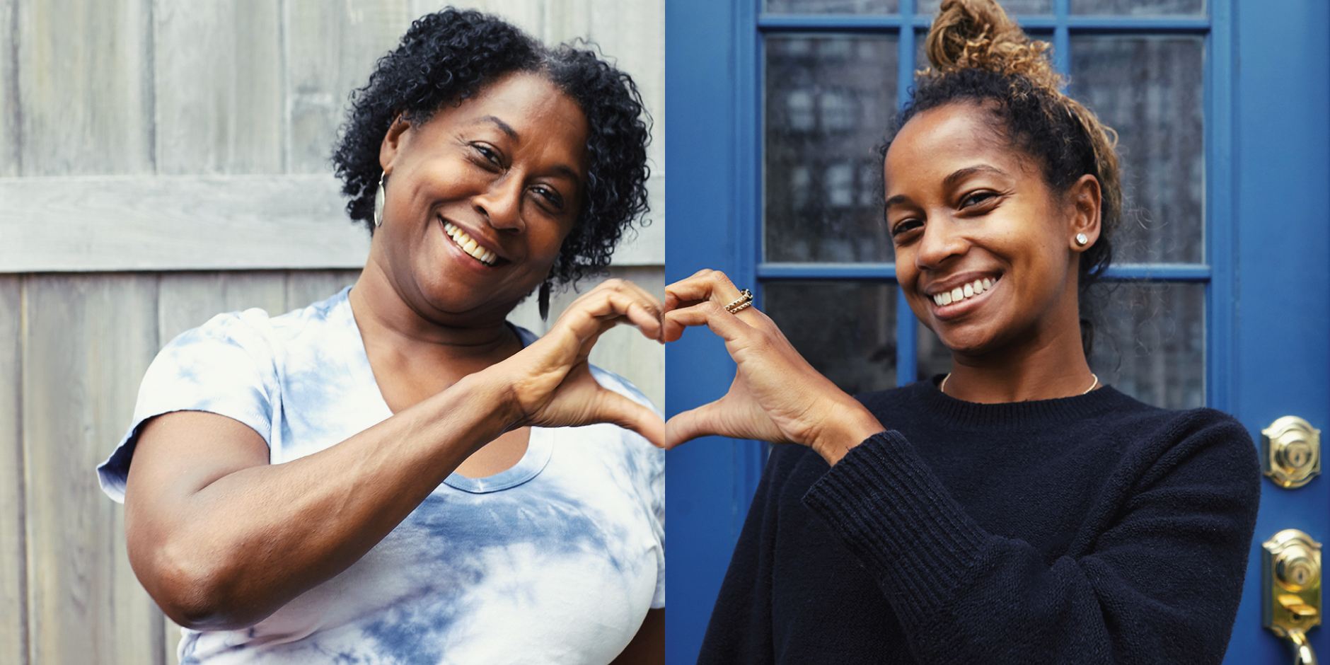A split screen photo of a mother and daughter, each holding up one hand to form half of a heart