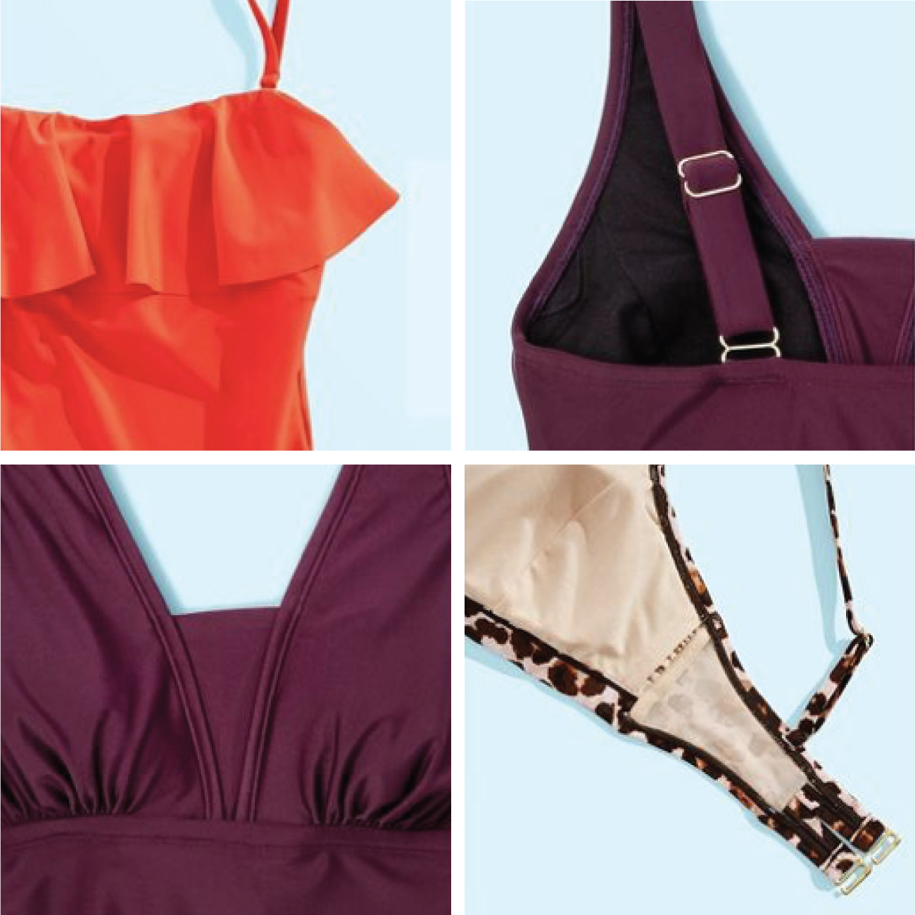 A collage of four images show up-close details of swimsuits