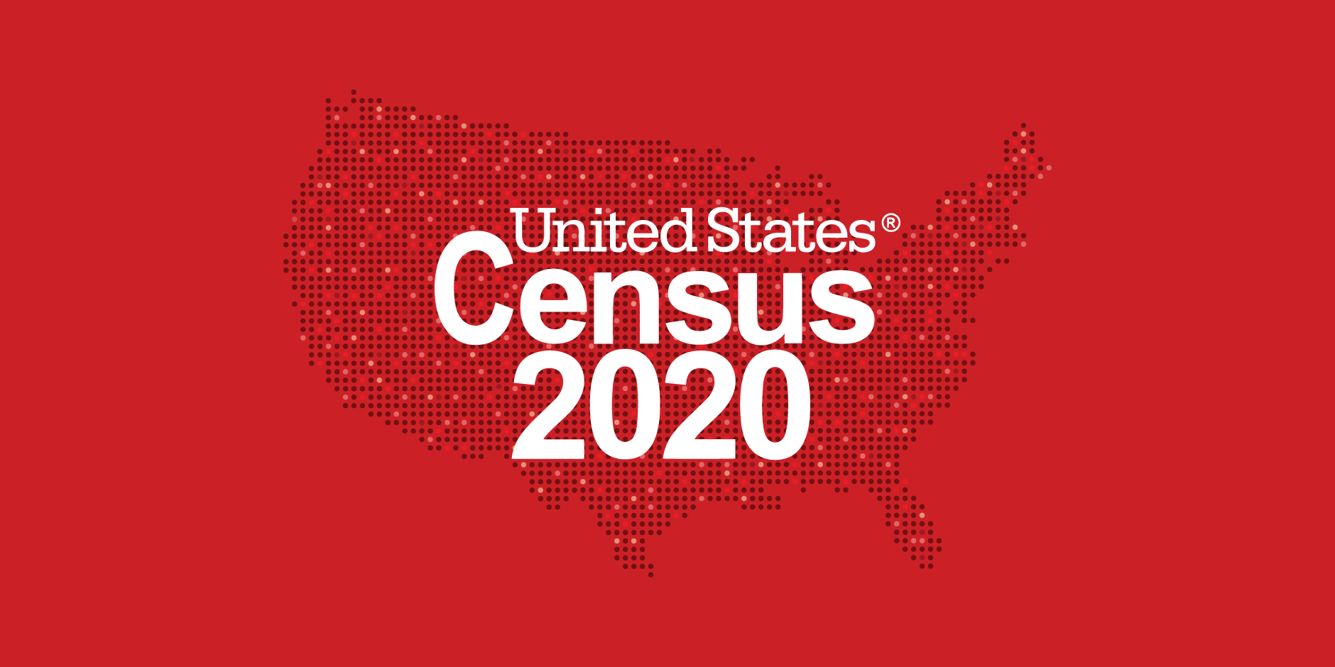"The outline of the U.S. and the words ""United States Census 2020"" against a red background"