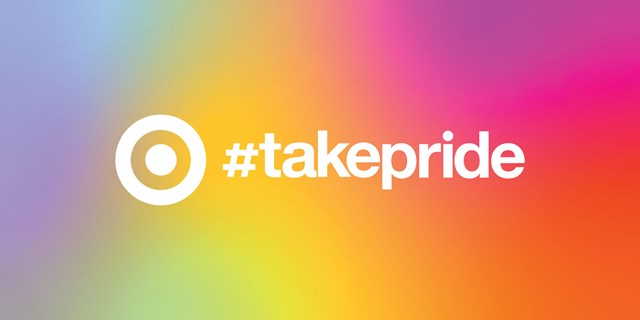 """#takepride"" in white text on a rainbow gradient background"