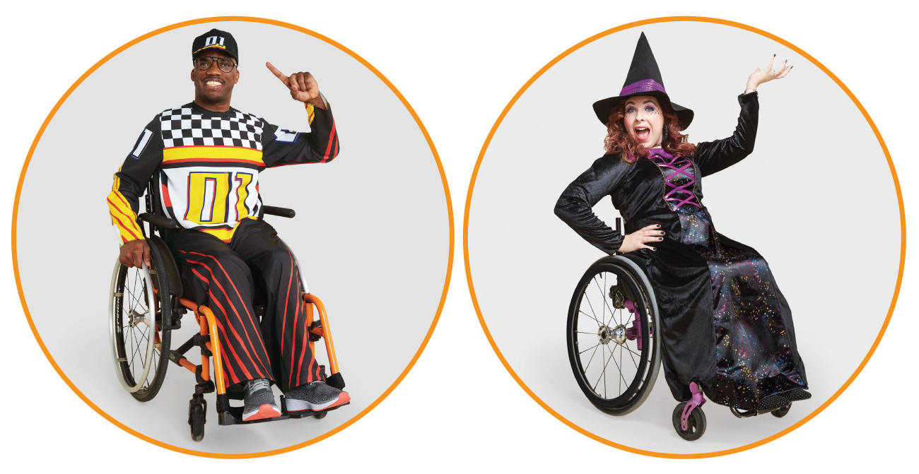 Michael and Kathryn model race car driver and witch costumes, smiling from their wheelchairs