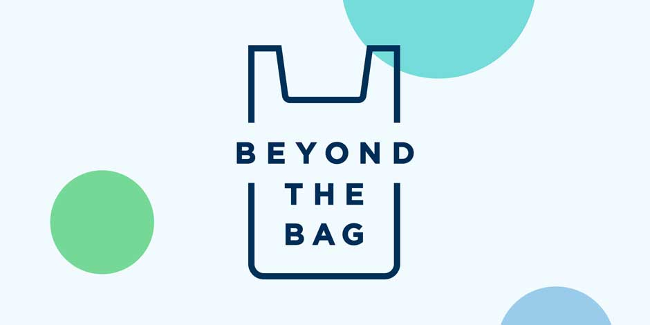 "outline of a plastic bag with ""beyond the bag"" in text overlay"