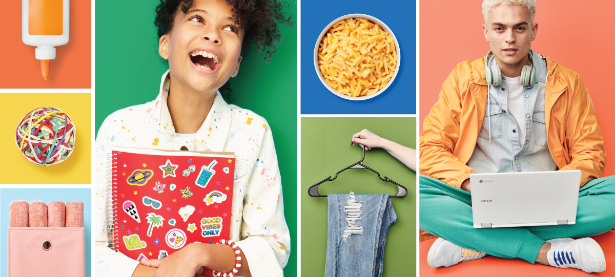 A color-blocked collage features two smiling models and a variety of school and college supplies and accessories