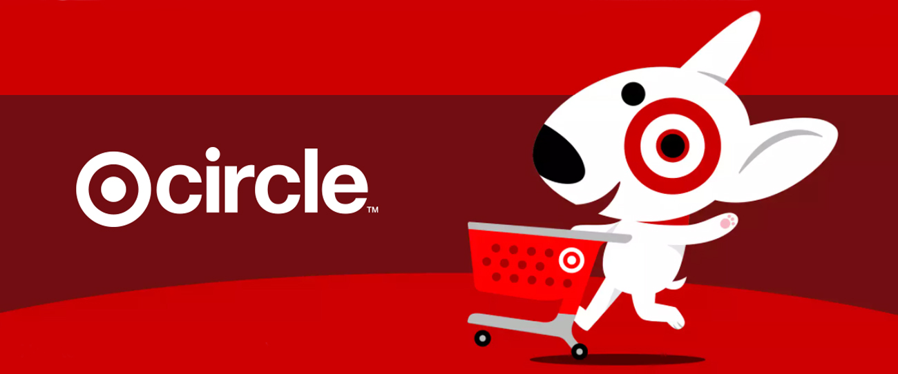 "An illustration of Bullseye the dog pushing a shopping cart alongside ""Target Circle"" text"